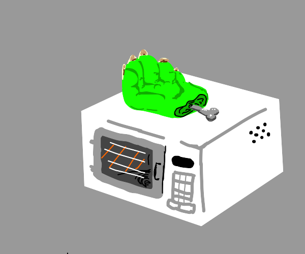 monster hand on microwave