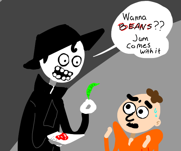 ManAsks if guy wants a bean with jam on paper