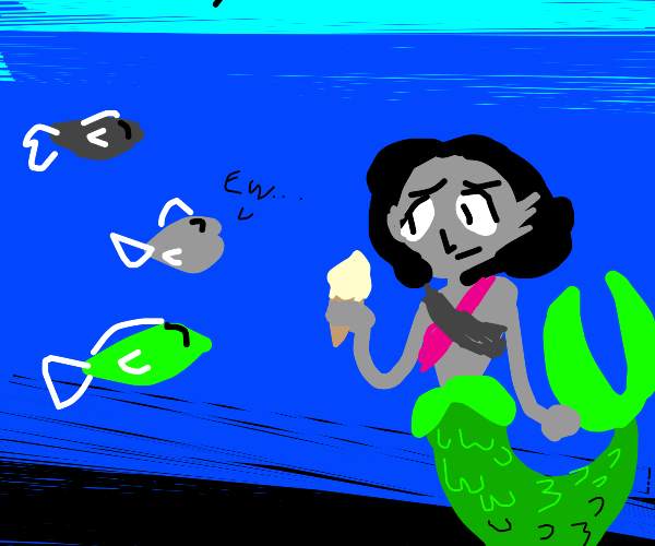 Fish are disgusted by a mermaid's ice cream