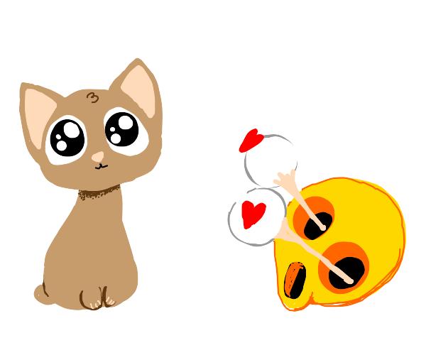 cute animal makes emojis eyes pop out