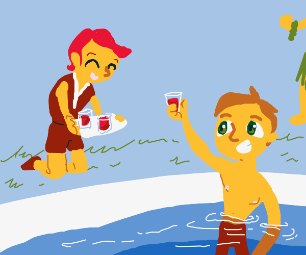 Serving tomato juice at a pool party
