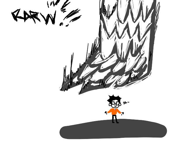 Godzilla squashing nerd boy