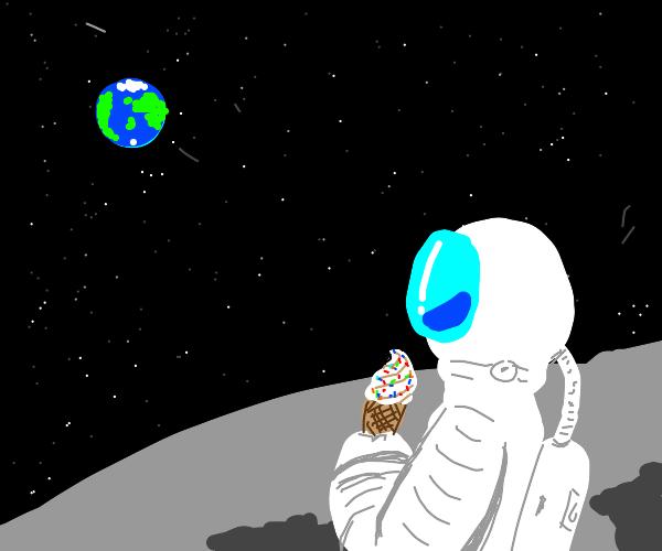 astronaut on the moon with an icecream