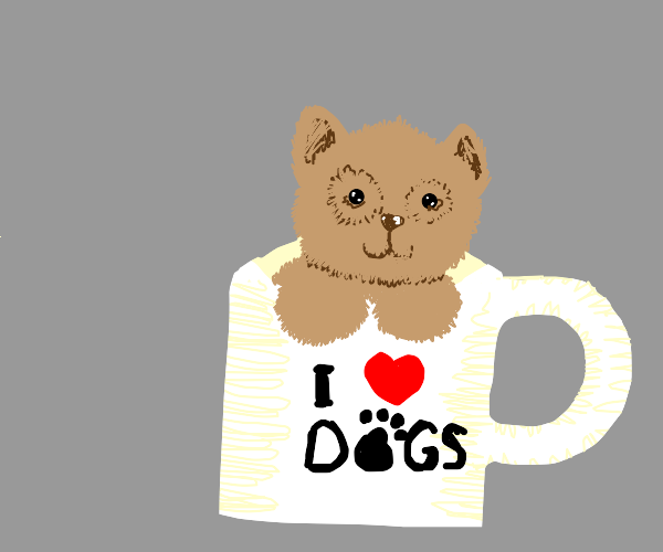 "Dog in ""I love dogs"" mug"