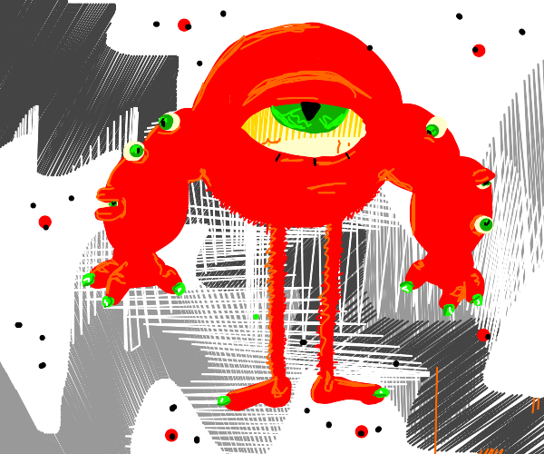 red monster with one giant eye+6xtra arm eyes