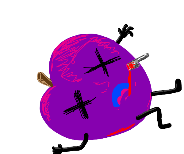 purple apple gets stabbed