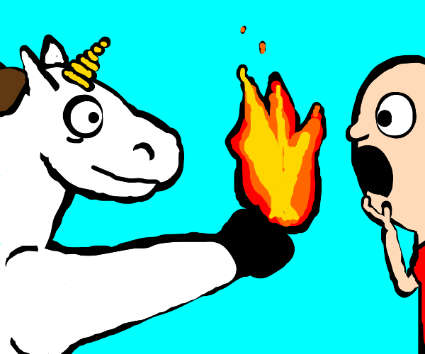 Unicorn offers fire to a guy