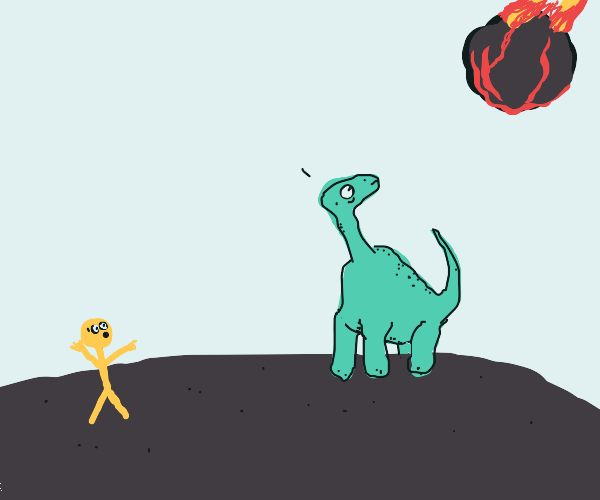 Man warns dinosaurs of meteorite