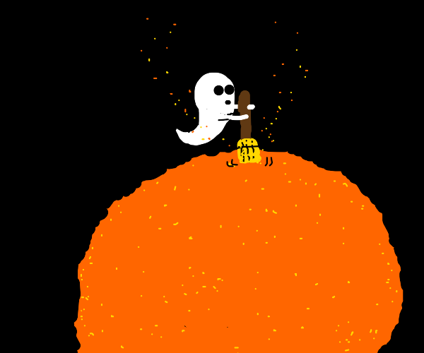 Tiny ghost sweeps the surface of a cheeseball