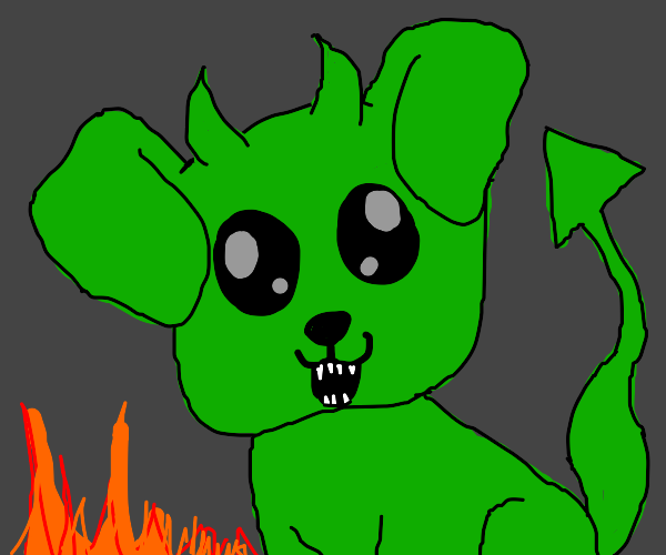 A green devil puppy