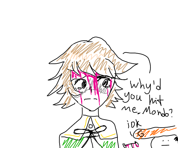 Chihiro sad that mondo hit him with a dumbbel