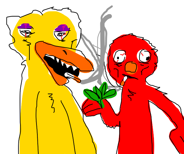 Elmo and Big Bird getting lung cancer