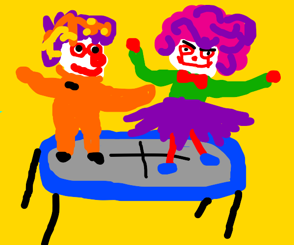 Two clowns on trampoline together