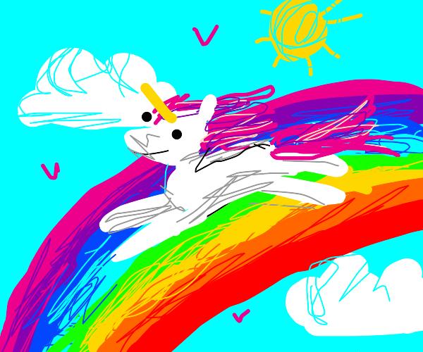 Unicorn on a rainbow