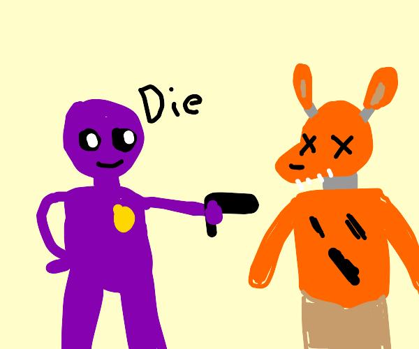 Purple man kills foxie