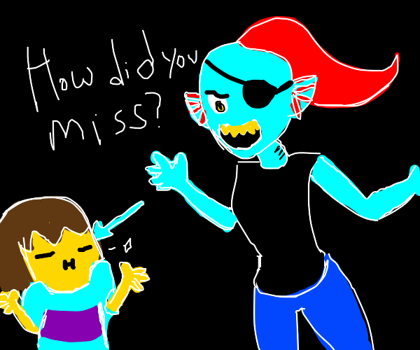 Undyne gets triggered because frisk didnt hit