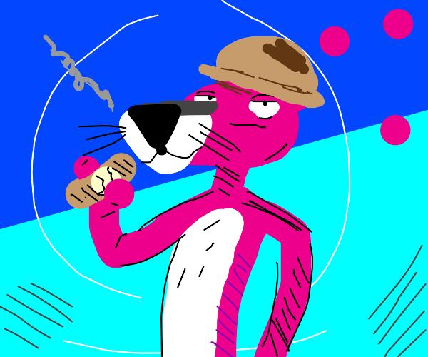 Pink Panther is smoking pipe