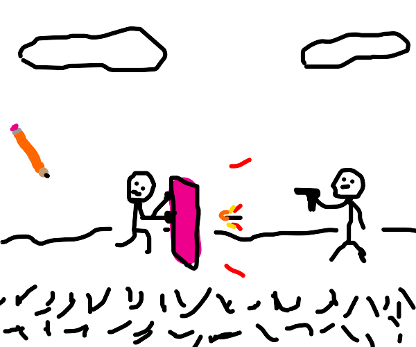 Sketch shields himself with an eraser