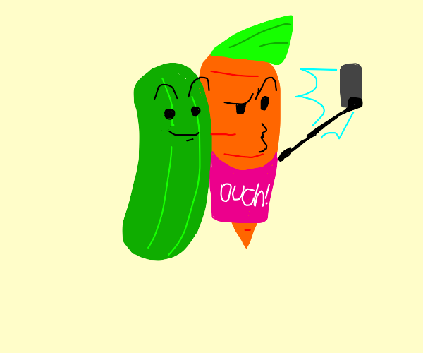 Chad Carrot takes selfie with cucumber