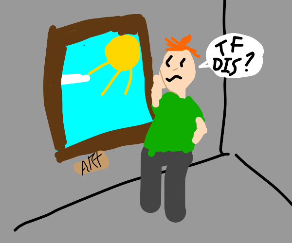 Man hates art work in art gallery