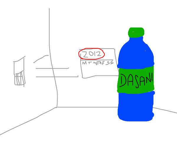 A water bottle from 2012