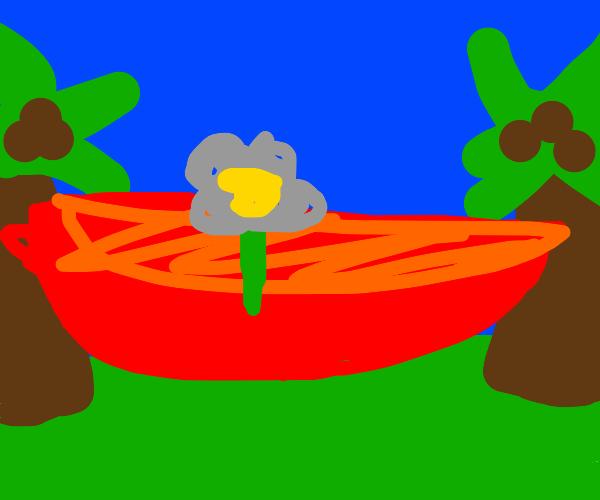 Gray flower in red hammock