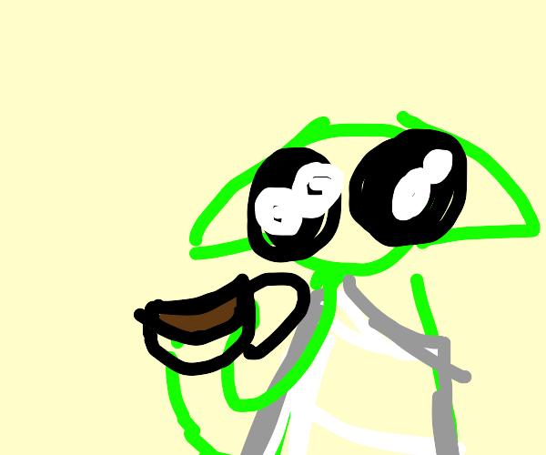 Baby yoda hands you some tea