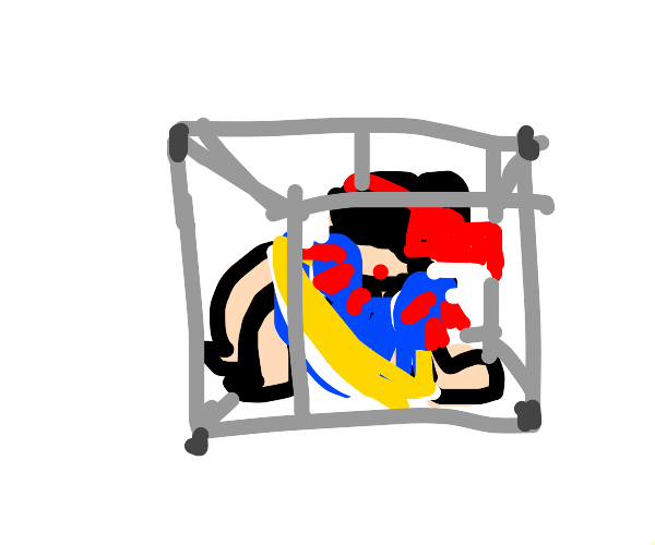 Snow white trapped in a wireframe box