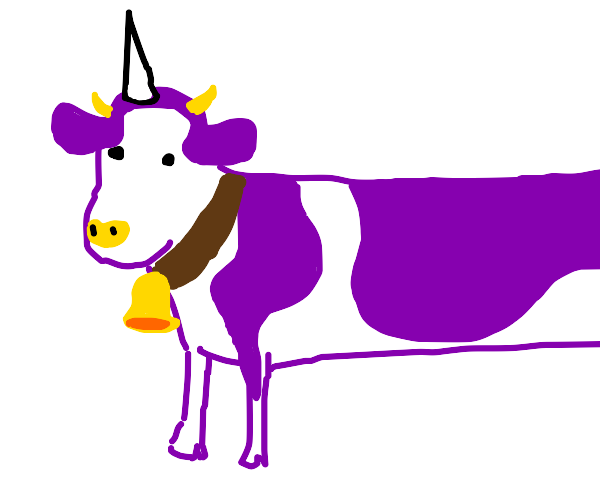Long white and purple cow Unicorn