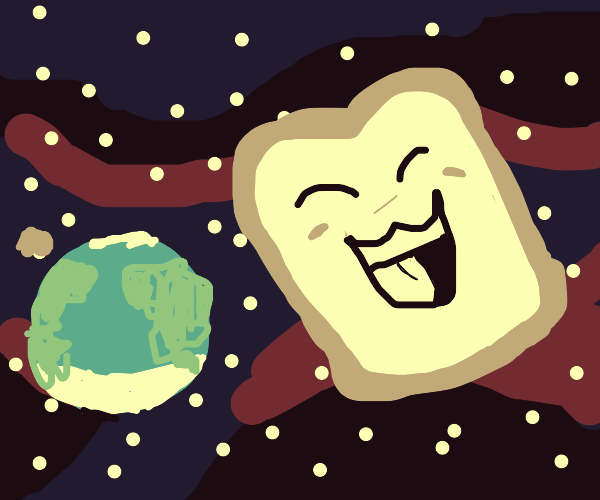Happy loaf of bread soars through space
