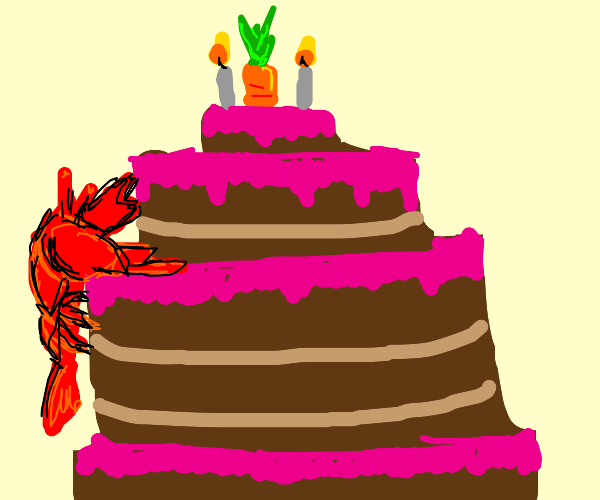 lobster climbs cake to get to carrot