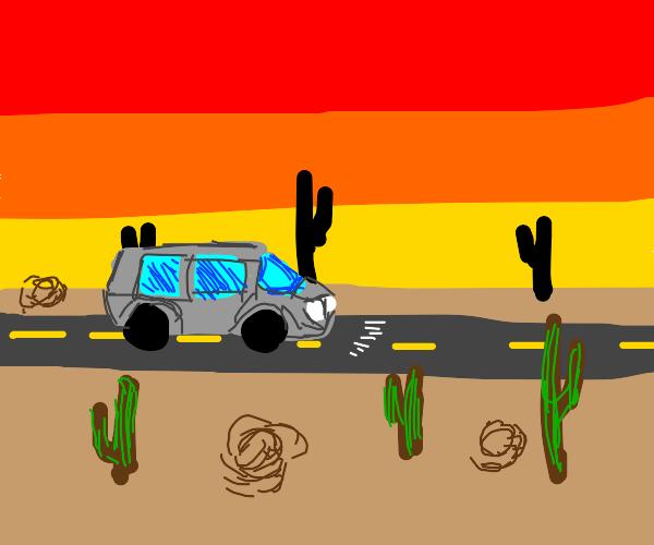 Roadtrip through a desert