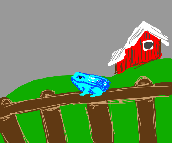 Blue farm frog chillin on a fence