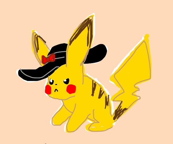 Pikachu (intimidating) wearing a sun hat