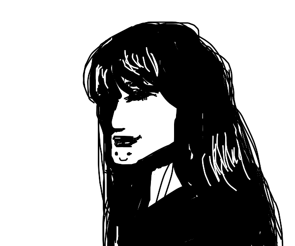 black and white woman has a strange chin