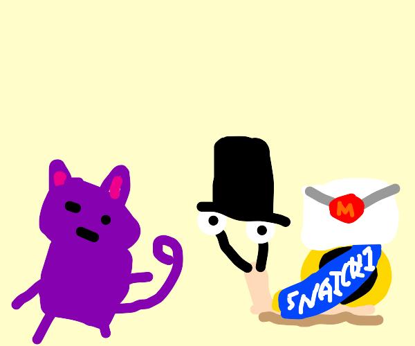 Gentleman delivery snail & purple female cat