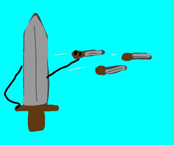 a sword throwing daggers