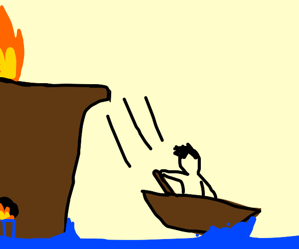 man in dinghy flips off a sinking ship