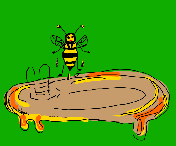 a bee coming out of a pool made of honey