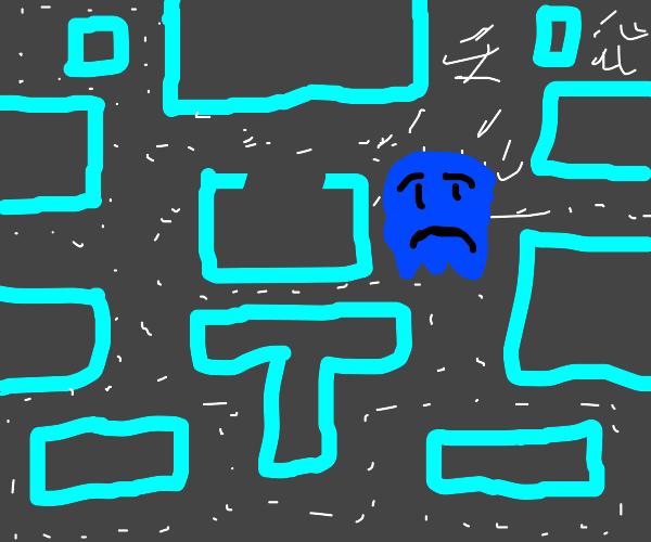 sad pac man ghost