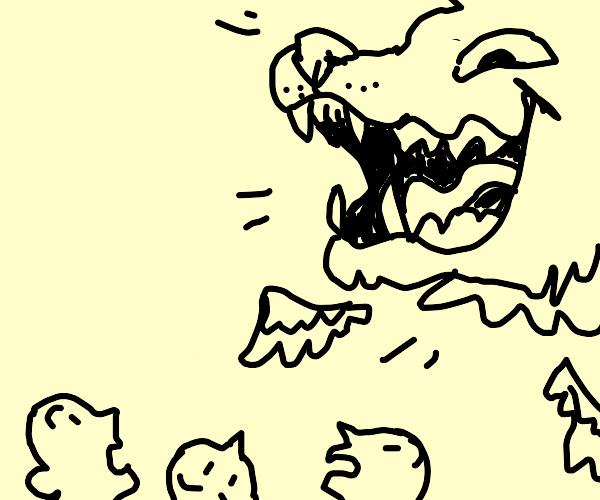 flying wolf head
