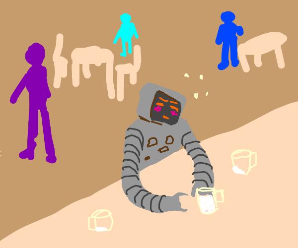 robot at a bar