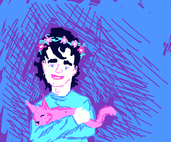guy with flower crown holding cat
