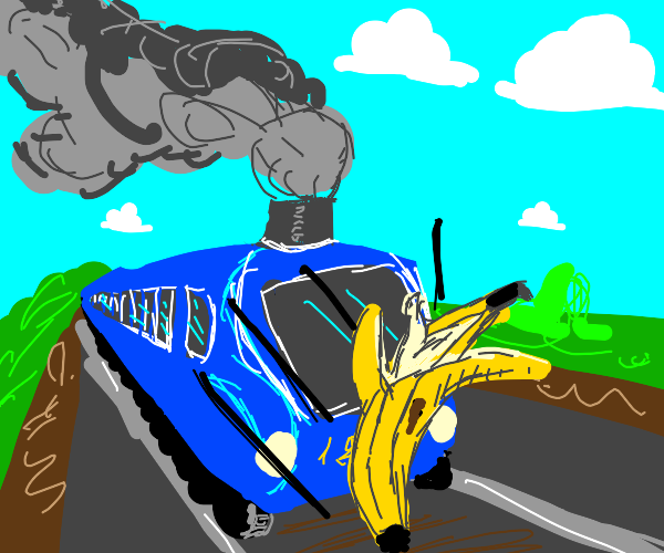 banana gets hit by train