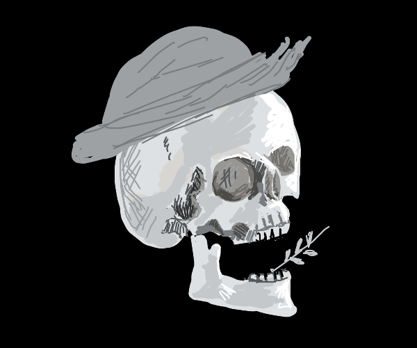 Creepy farmer skull