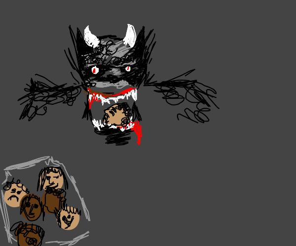 the devil eats tiny human heads