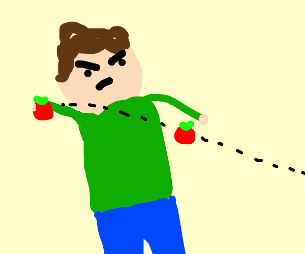 Man can't take tomatoes and should throw them