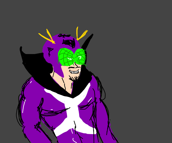 A purple dude with a mask that has bug eyes?