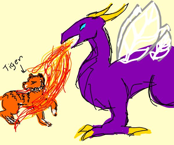 Weird Purple Bug Dragon thing attacking tiger