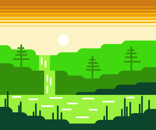A green waterfall